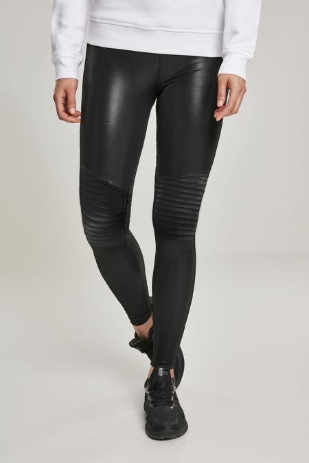 Black Faux Leather Biker Leggings