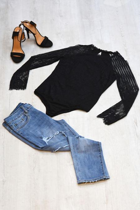 Black Floral Lace Long Sleeve Bodysuit