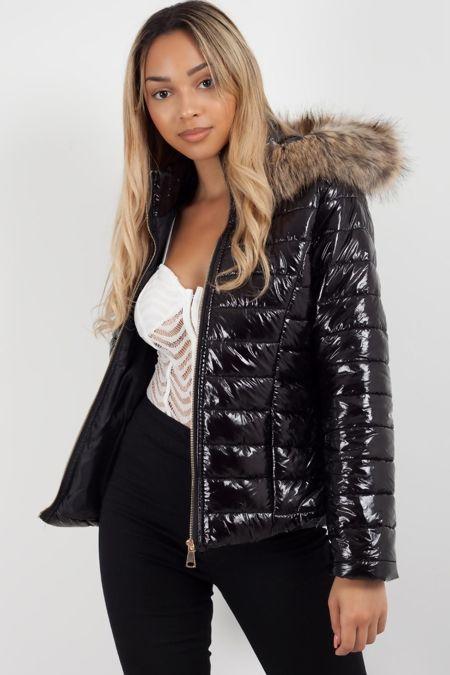 Black Fur Hood Jacket