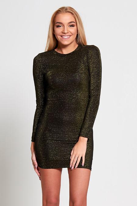 Black Glitter Detail Long Sleeve Bodycon Dress