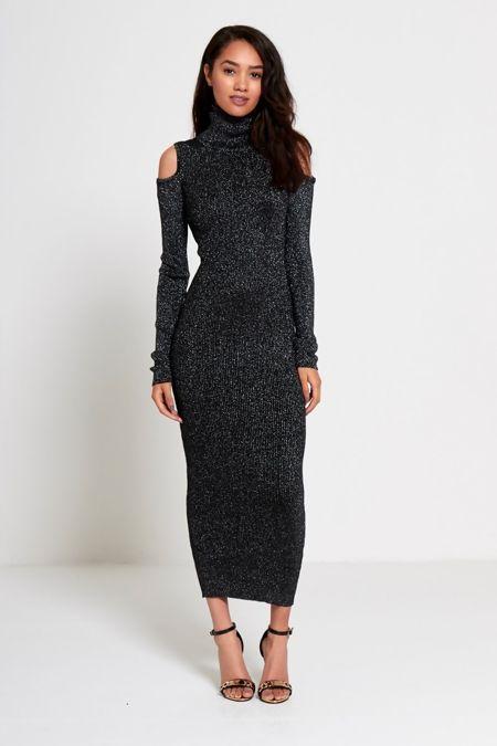 Black Glitter Ribbed Detail Cut Shoulder Maxi Dress