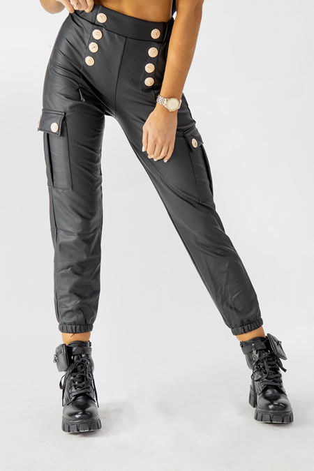 Black Gold Button Detail PU Leather Cargo Jogger