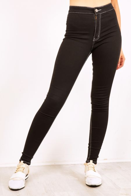 Black High Waisted Jeans With Contrasting Stitching