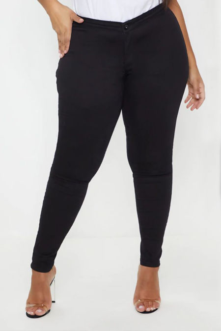 Plus Size Black High Waisted Tube Skinny Jeans