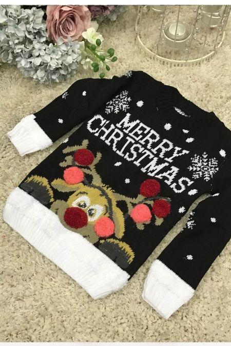Black Kids Merry Christmas Knitted Jumper