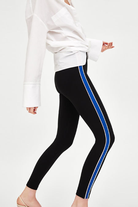 Black Leggings With Blue Piped Side Stripes
