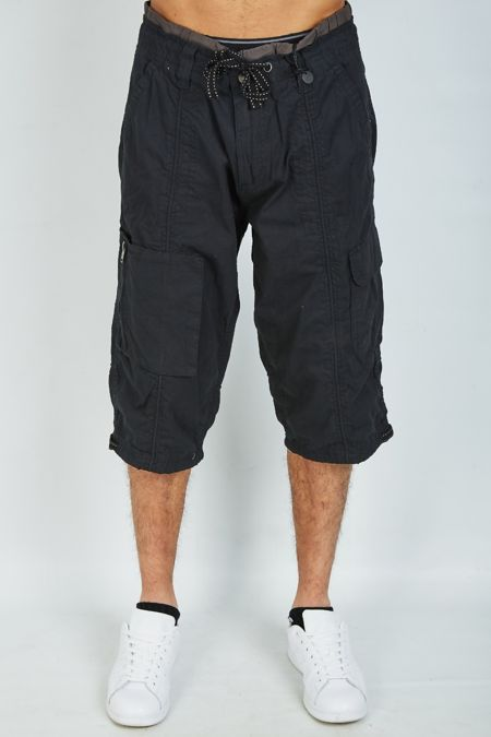 Black Long Cargo Shorts