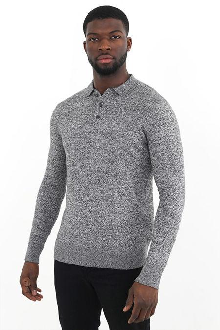 Black Marl Long Sleeve Knit Polo Shirt