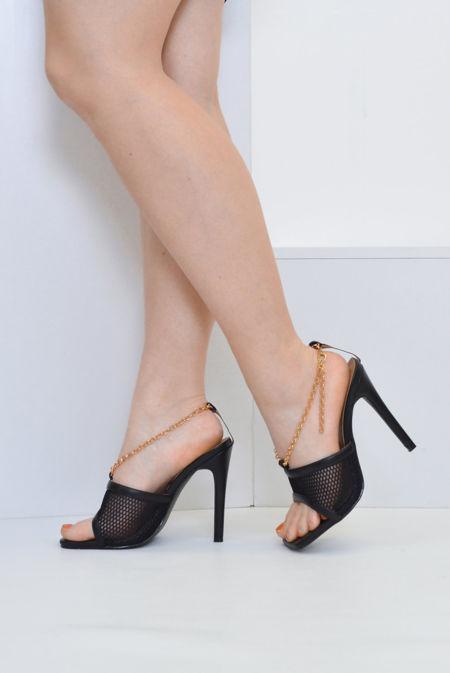 Black Mesh Chain Mule Heels