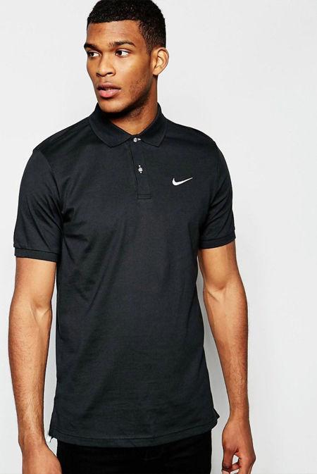 Black Nike Polo Shirt With Swoosh Logo