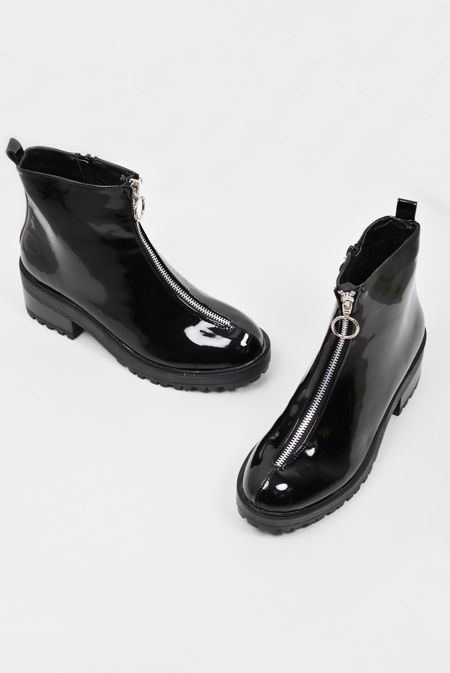 Black O Ring Zip Front Chunky Hiker Boots
