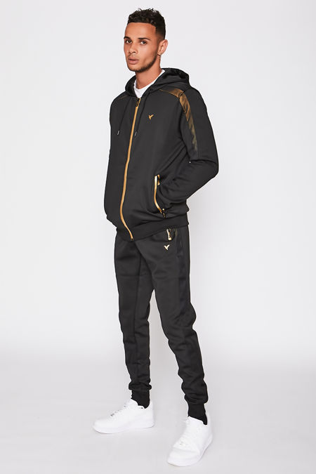 Black Ombre Mesh Silver Panel Poly Skinny Tracksuit