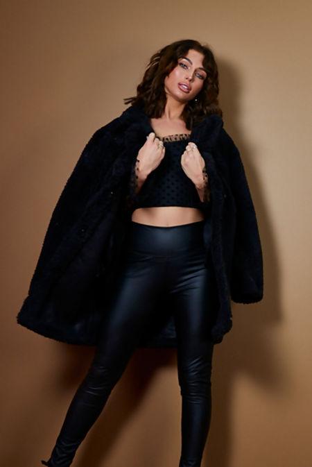 Black Oversized Borg Coat