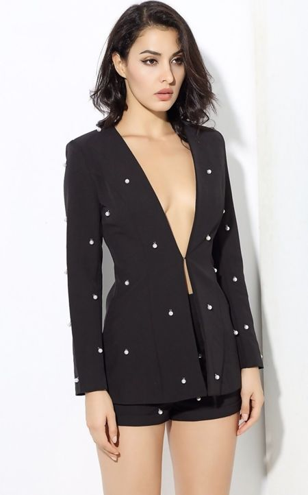 Black Pearl Detailing Blazer And Shorts Co-ord Set