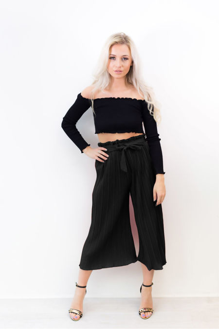 Black Pleated Belt Wide Leg Trousers
