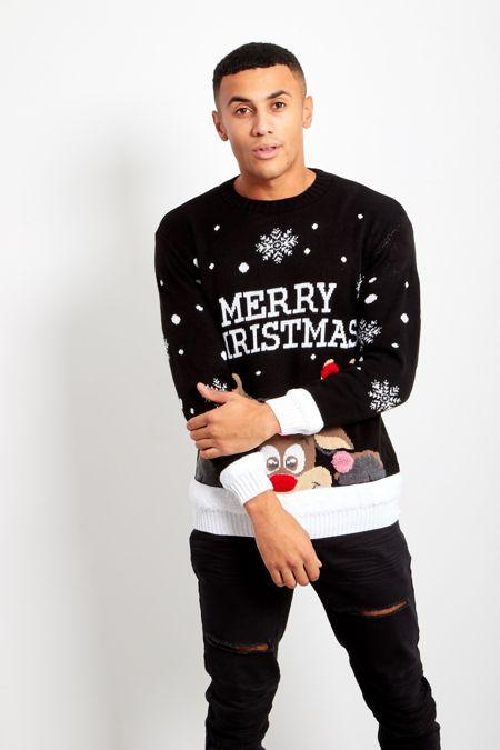 Black Pom Reindeer Merry Christmas Jumper