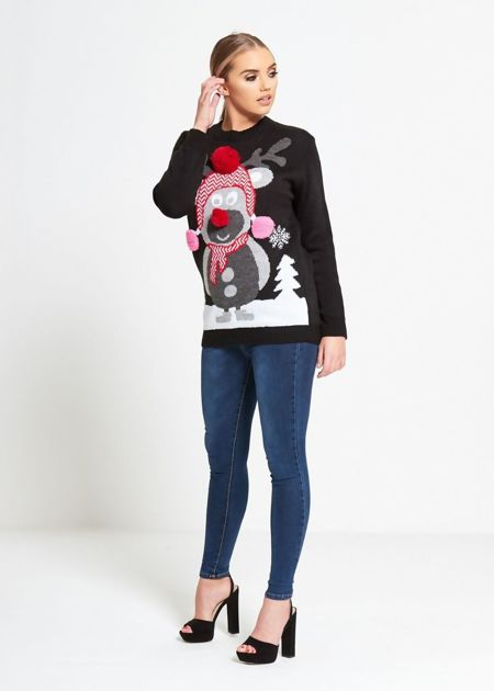 Plus Size Black Pom Scarf Reindeer Knitted Christmas Jumper