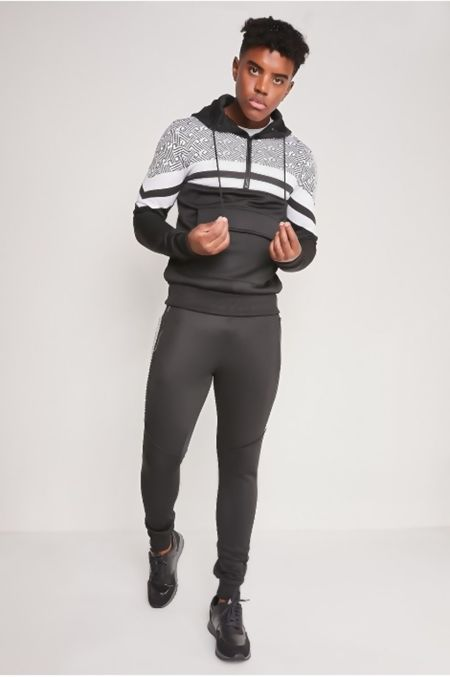 Black Pouch Pocket Skinny Fit Hood Tracksuit