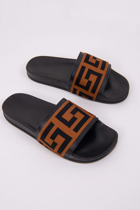 Black Printed Strap Sliders
