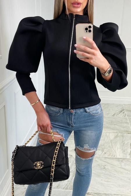 Black Puff Sleeve Zip Up Jacket