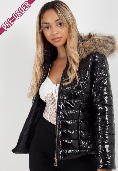Black With Beige Fur Hood Jacket