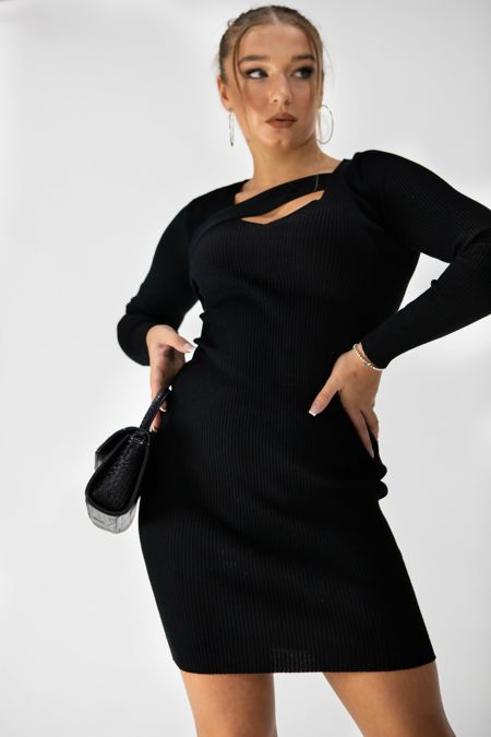 Black Ribbed Long Sleeve Bodycon Dress