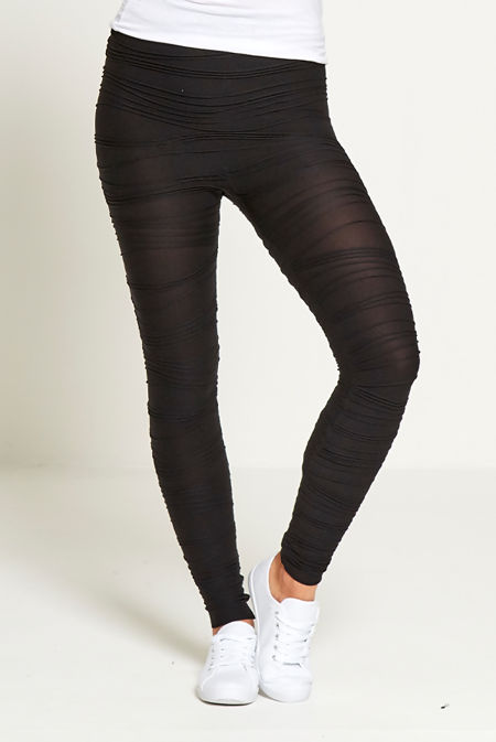 Black Ruched Detail Leggings