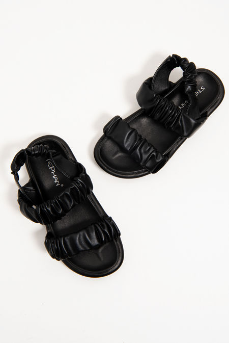 Black Ruched Double Strap Slides