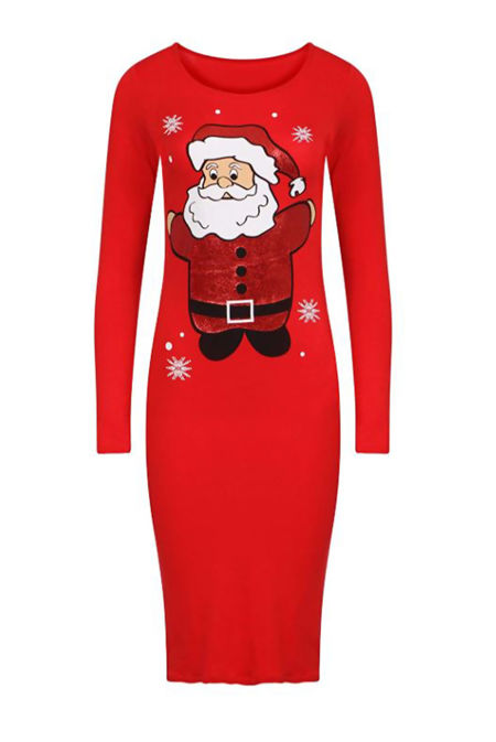 Black Santa Print Christmas Midi Dress