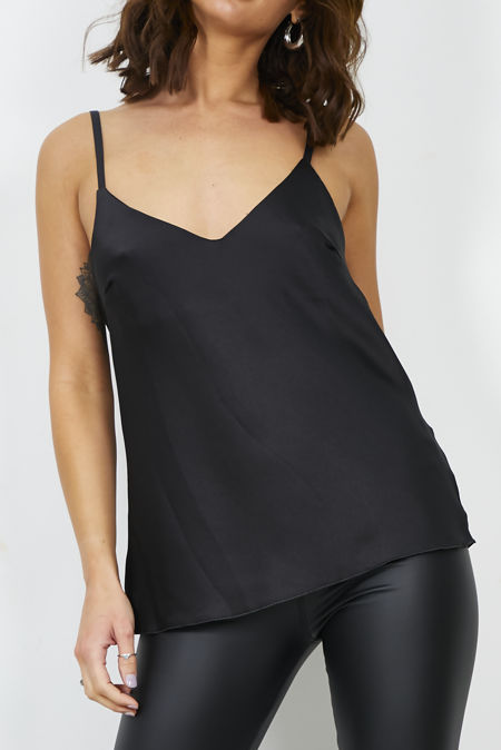 Black Satin Cami Top