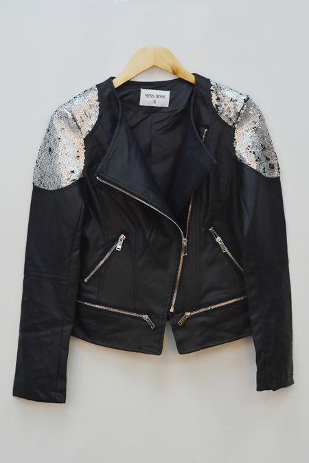 Black Sequinned Zip Up Biker Jacket