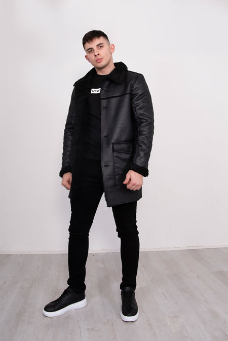 Black Sherpa Lined Faux Leather Jacket