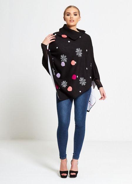 Black Snowflake Pom Pom Christmas Poncho
