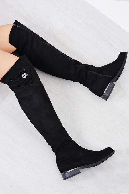 Black Studded Suede Over Knee High Boots
