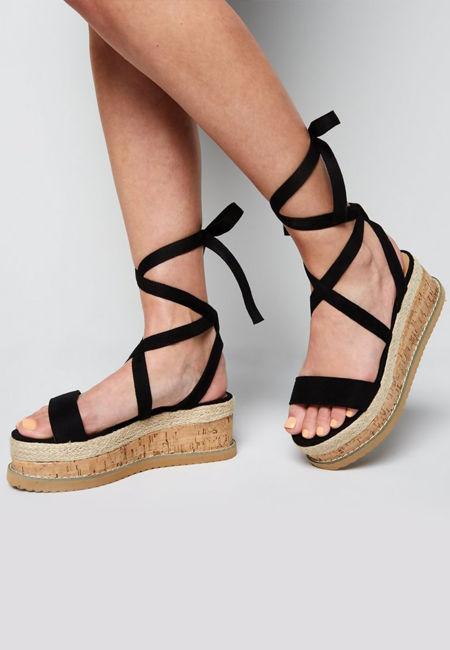 Black Suede Ankle Tie Flatform Sandals