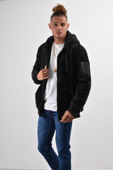Black Teddy Faux Fur Hood Jacket