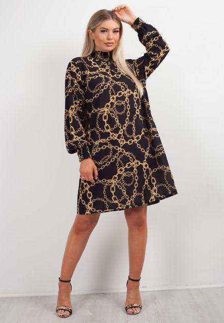 Black Victorian Collar Printed Dress