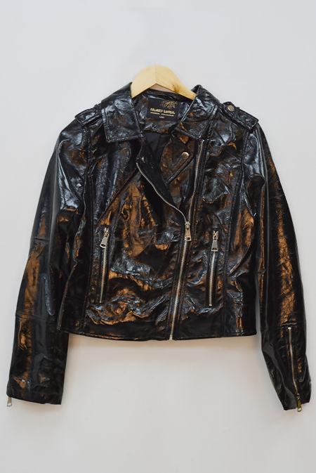 Black Vinyl Collar Biker Jacket