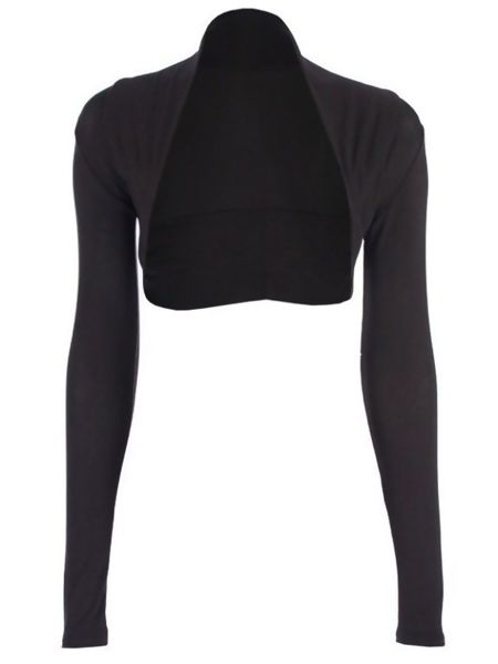 Black Viscose Cropped Plain Shrug