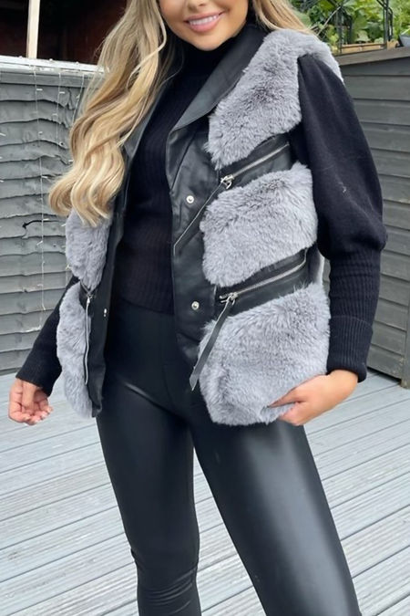 Black With Grey PU Faux Leather Faux Fur Gilet