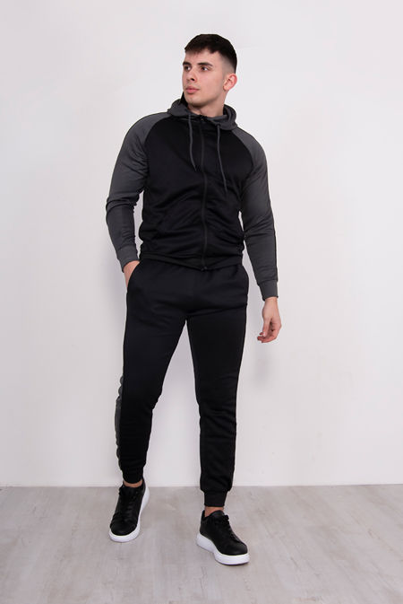 Black With Grey Piped Raglan Tracksuit