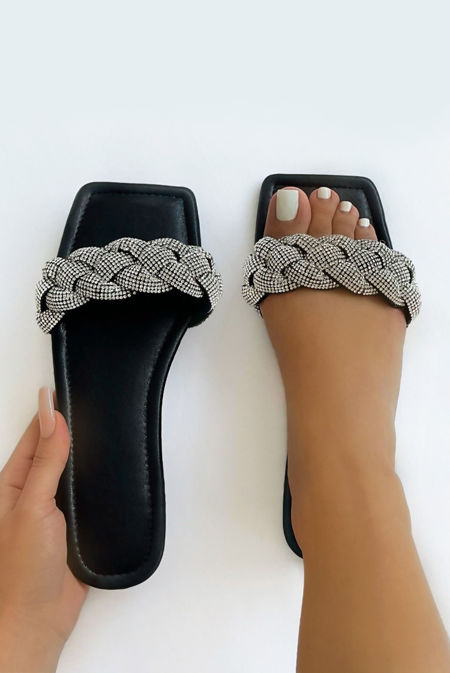 Black Woven Diamante Strap Flat Sandals
