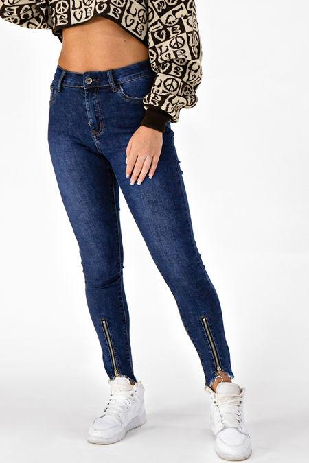 Blue O-Ring Zip Hem High Waisted Skinny Jeans