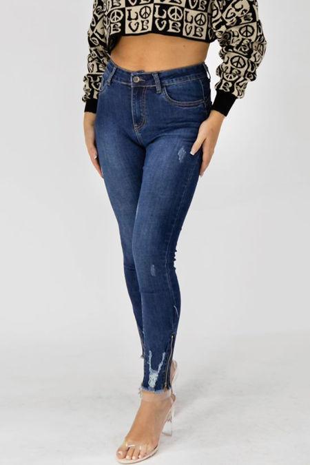 Blue Ripped Zip Hem Skinny Jeans