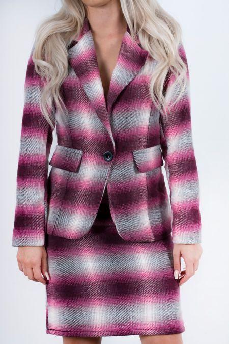 Brushed Check Blazer And Skirt Set