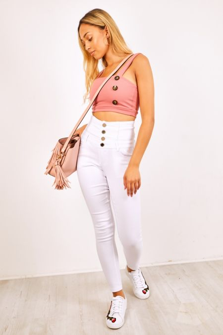 Button Up Corset White Denim Skinny Jeans