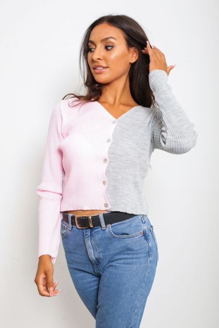Pink Two Tone Button Front Cardigan