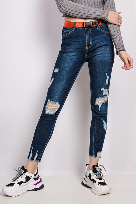 Cadet Knee Ripped Distressed Belted Jeans