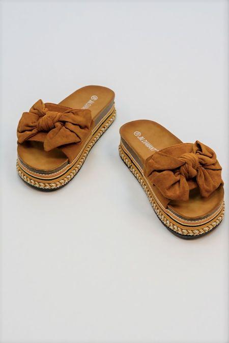 Camel Bow Platform Sandals