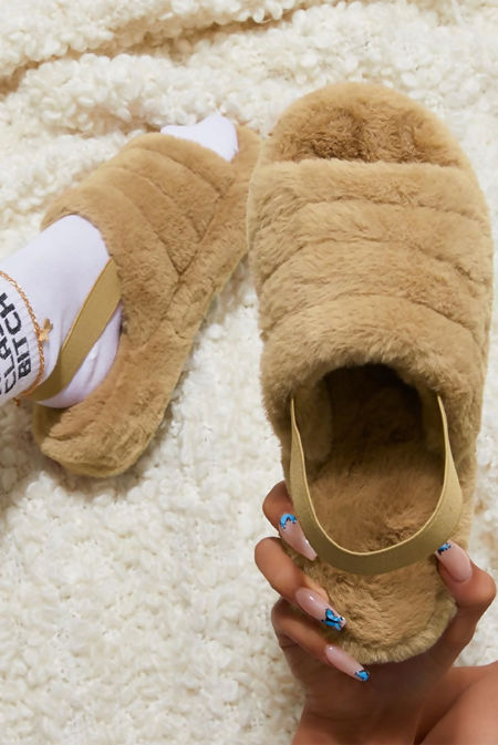 Camel Faux Fur Fluffy Stripe Slipper